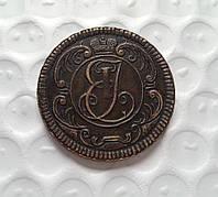 Копия пробной монеты Елизаветы вензель орел  копейка 1755 года №193 копия, фото 1
