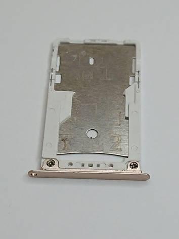 Лоток Sim-карт Xiaomi Redmi Note 4X золотистый оригинал б.у., фото 2