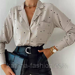Рубашка женская софт в горошек (голубая и бежевая)