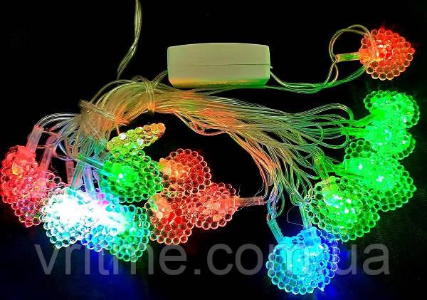 """Світлодіодна LED гірлянда """"Листочки"""" 20 лампочок, 3 м, колір мульти."""