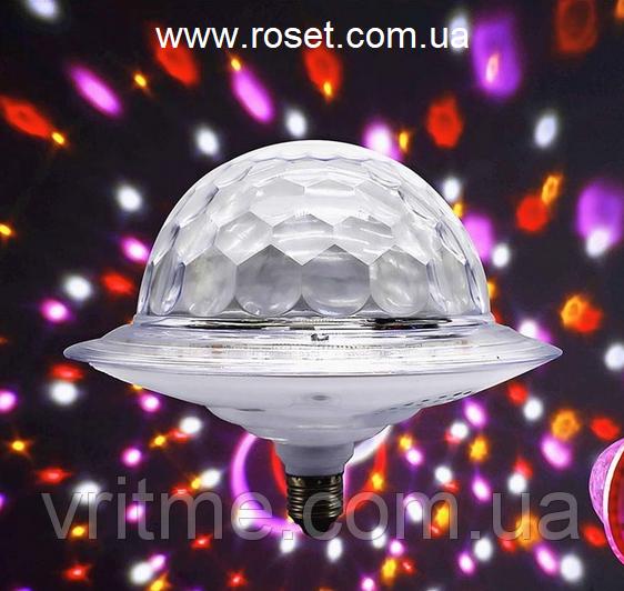 Диско куля з динаміком в патрон LED UFO Bluetooth Crystal Magic Ball E27