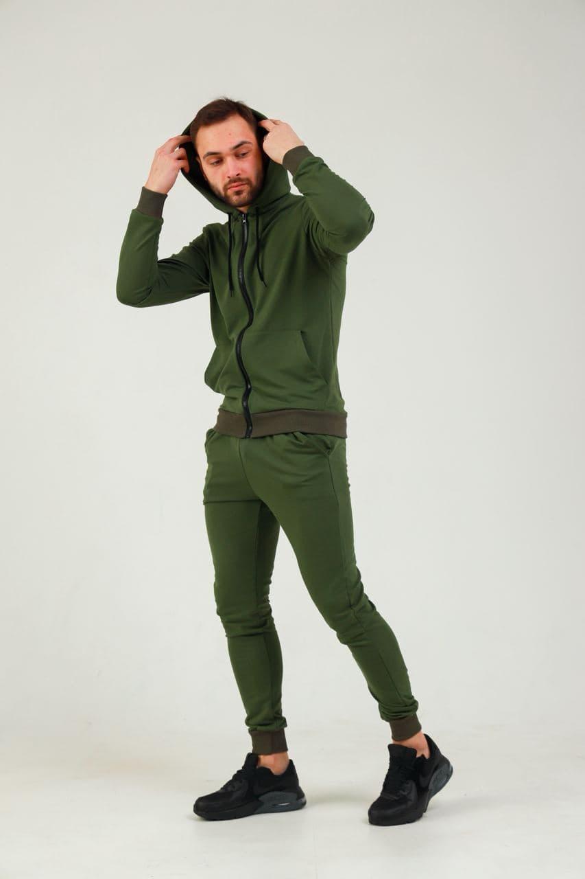Чоловічий зелений весняний трикотажний спортивний костюм