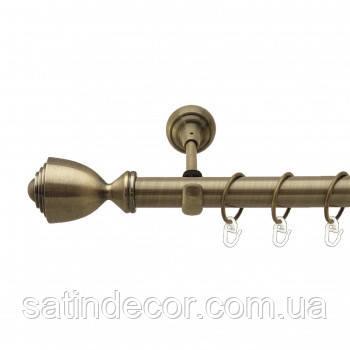 Карниз для штор металевий ПАЛАЦІО однорядний 25мм 2.0 м Античне золото
