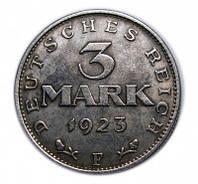 3 марки 1923 Веймарская конституция копия монеты в серебре №225 копия