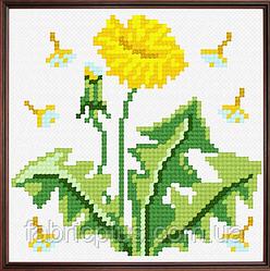"""Набор для вышивания """"Одуванчик"""" (ткань с рисунком, мулине, игла) 11*11 см"""