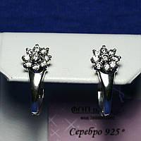 Серьги из черненого серебра с фианитом Цветы 2314в