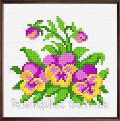 """Набор для вышивания """"Фиалки2"""" (ткань с рисунком, мулине, игла) 11*11 см"""