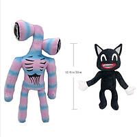 Мягкие игрушки Сиреноголовый и Мультяшный кот 2шт