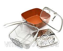 Сковорода квадратная с антипригарным покрытием MIGAS + фритюрница