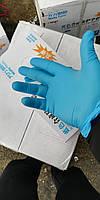 Плотные перчатки нитрил голубые.