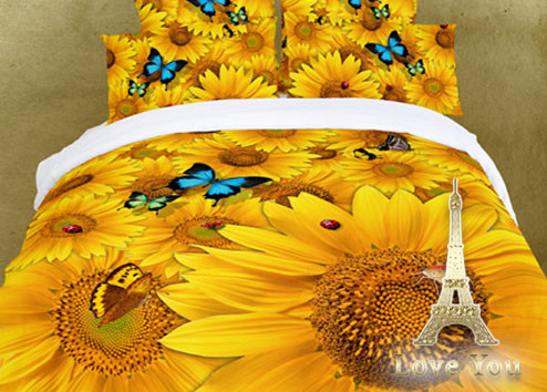 """Постельное белье 200х220 Евро """"Love You"""" сатин 3D рисунок Солнце"""