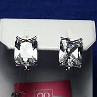Серебряные серьги с фианитом Багет 21047