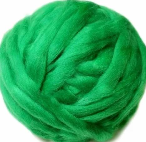 Австралийский меринос для валяния 23 микрон (10 грамм = 25 см) - зеленая. Шерсть для валяния зеленая. Фелтинг