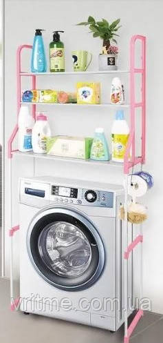 Полиця-стелаж над пральною машиною 152 см Style WM-63 Біло-рожева