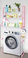 Полиця-стелаж над пральною машиною 152 см Style WM-63 Біло-рожева, фото 1