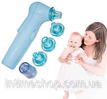 Аспиратор для носа Sniffing Equipment, 7 насадок (4 - голубые), соплеотсос детский (аспіратор назальний) (TI)