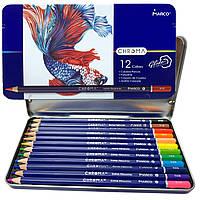 Карандаши цветные MARCO CHROMA 12 цветов в металлическом пенале