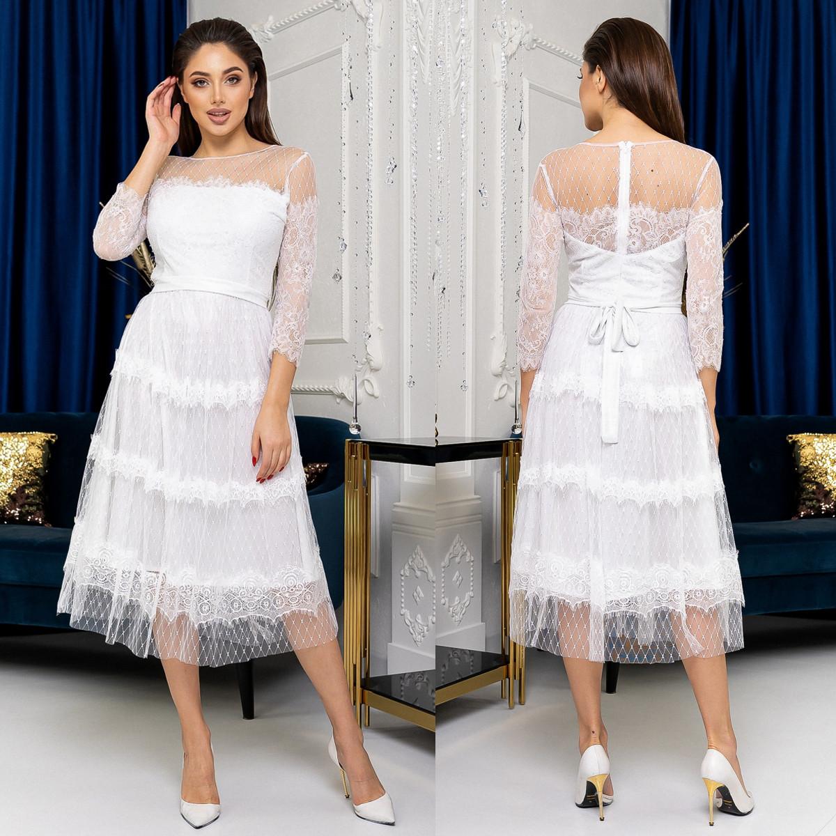 """Гіпюрову сукню міді весільне, вечірнє, вінчальне """"Таяна"""""""