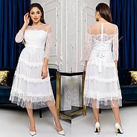 """Гіпюрову сукню міді весільне, вечірнє, вінчальне """"Таяна"""", фото 1"""