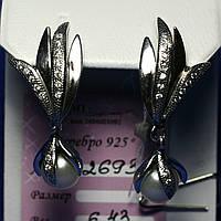 Серьги с жемчугом в серебре 2693, фото 1
