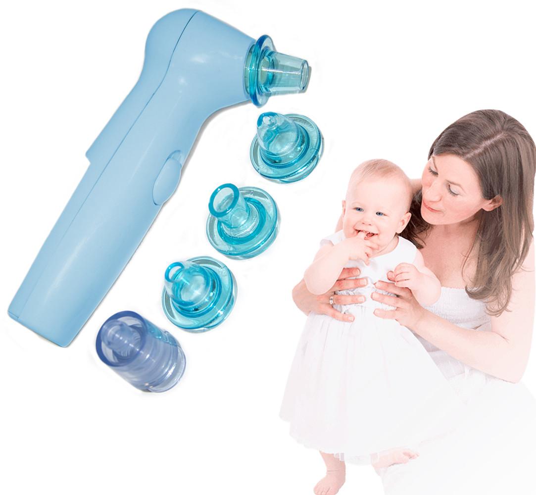 Аспиратор для носа Sniffing Equipment, 7 насадок (4 - голубые), соплеотсос детский (аспіратор назальний) (GK)
