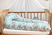 Подушка для беременных 3 в 1 U, STANDART + 120 см, ТМ Добрый сон, мятные единороги, 13-07/1