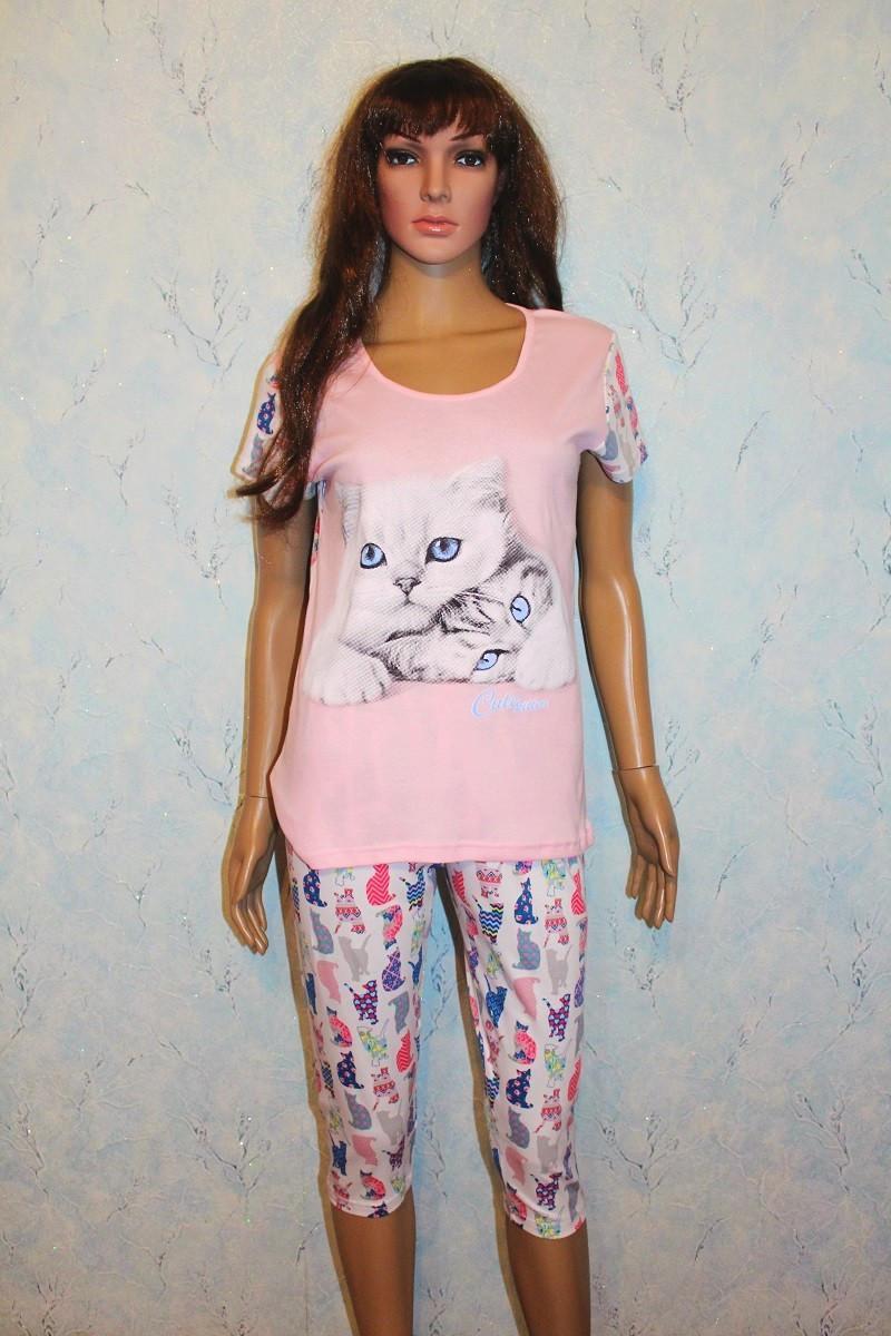 Пижама женская футболка с бриджами летняя интерлок розовая р.44-58