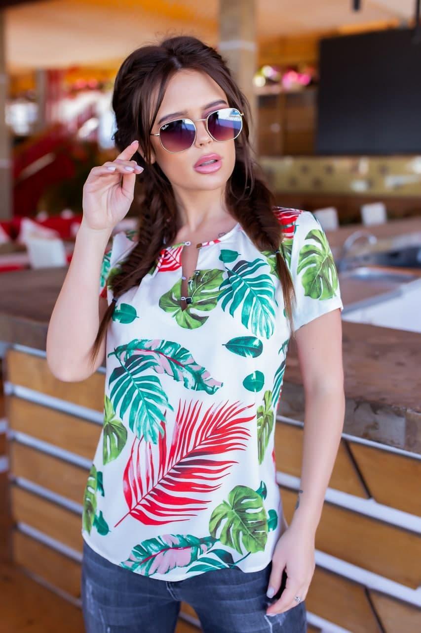 Річна жіноча блузка з листям 42-56 (в кольорах)