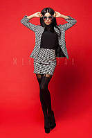 Костюм юбка+пиджак с принтом гусиной лапки