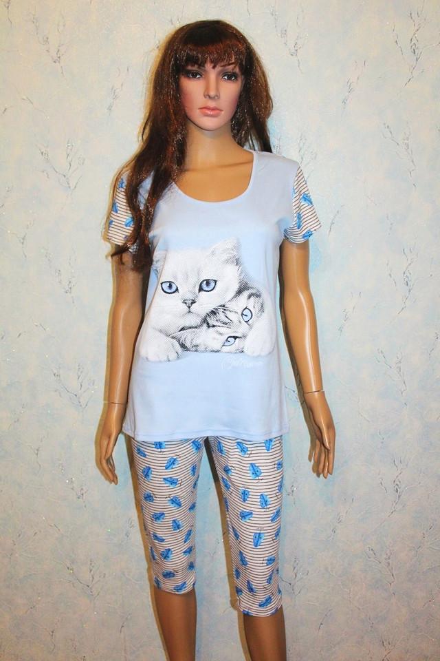 Піжама жіноча футболка з бриджами річна інтерлок блакитна