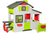 Дом для друзей Smoby Toys с дверным звонком столиком и забором 217х171х172 см (810203)