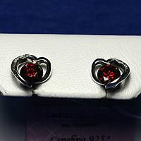 Серьги-пусеты серебро с цирконом Сердечки 2101, фото 1