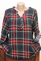 Блуза женская штапель клеточка