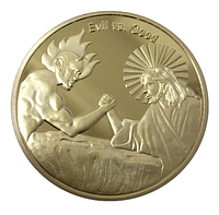 Позолоченная сувенирная монета ''Бог против Сатаны'', фото 1