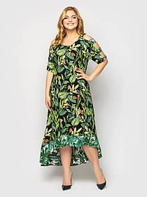 Летний женский асимметричный сарафан из штапеля зеленого цвета в цветочек, больших размеров от 50 до 58