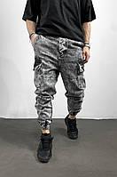 Джинсы мужские серые с карманами по бокам карго стильные весна лето чоловічий одяг 32