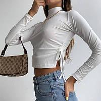 Женская кофта из трикотажа рубчик с затяжками по бокам и воротником стойкой (р. 42-44) 80KF1101, фото 1