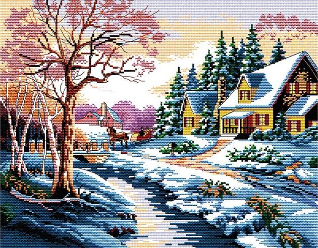 Набор для вышивания крестом 45х36 Зима Joy Sunday F025-1