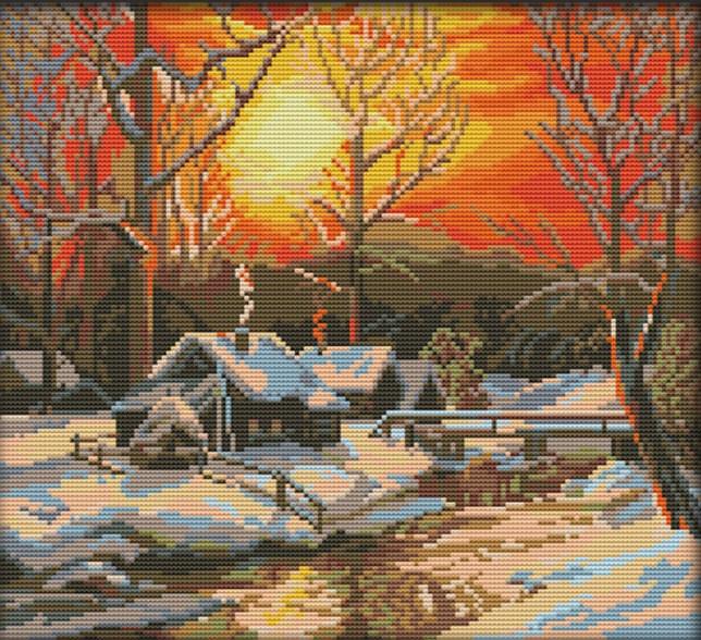 Набор для вышивания крестом 36х33 Зимний закат Joy Sunday F866