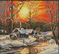 Набор для вышивания крестом 36х33 Зимний закат Joy Sunday F866, фото 1