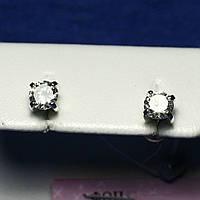 Серебряные серьги-пусеты с фианитом Мини 2106б, фото 1