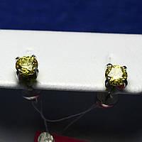 Серебряные пусеты с желтым цирконием 2106ж, фото 1