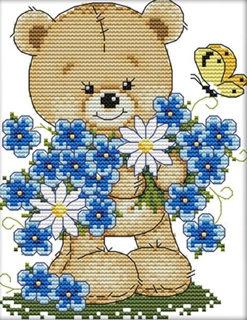 Набор для вышивания крестом 17х21 Мишка и цветы Joy Sunday C414