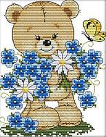 Набор для вышивания крестом 17х21 Мишка и цветы Joy Sunday C414, фото 1