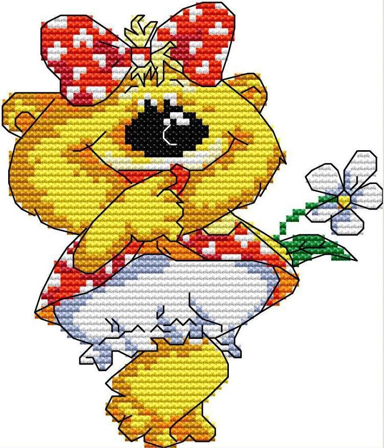 Набор для вышивания крестом 16х17 Мишка с рмашкой Joy Sunday DA455