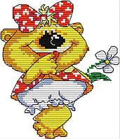 Набор для вышивания крестом 16х17 Мишка с рмашкой Joy Sunday DA455, фото 1