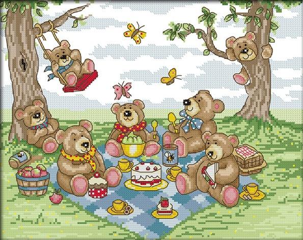 Набор для вышивания крестом 37х31 Мишки на пикнике Joy Sunday K416