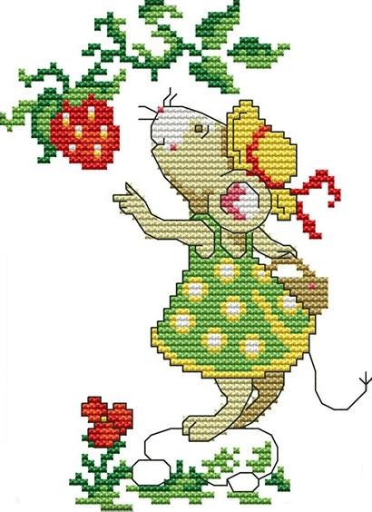 Набор для вышивания крестом 16х20 Мышка и клубника Joy Sunday D973