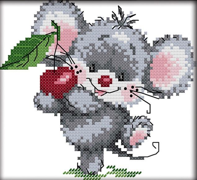 Набір для вишивання хрестом 17х16 Мишка і вишня Joy Sunday C456