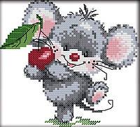 Набір для вишивання хрестом 17х16 Мишка і вишня Joy Sunday C456, фото 1